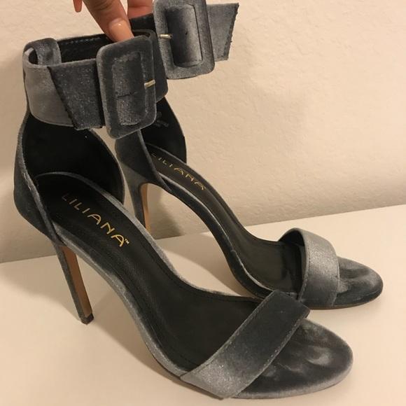 b443e651a95 Grey Velvet High Heeled Sandal with Ankle Strap